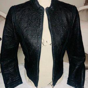 Detailed leather jacket